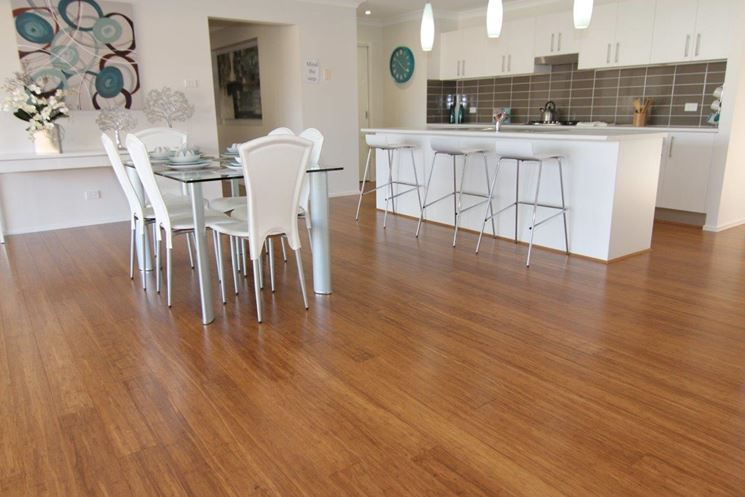 White Kitchen Bamboo Floor